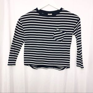 Zara Girl Size 8 Navy White Stripe Long Sleeve Top